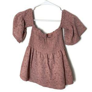 4/$15 Pink lace off the shoulder boho top size M